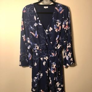 Flirty-sleeve Navy Wrap Dress with Floral Pattern